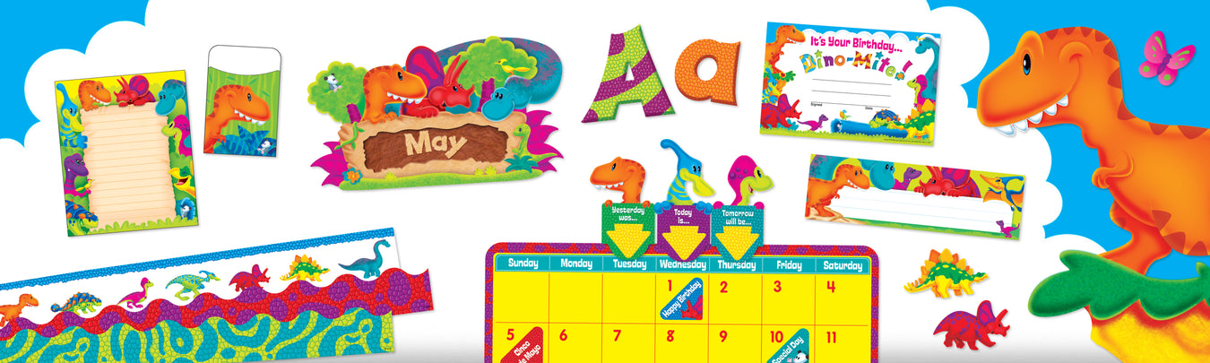 Cartoon dinosaur classroom theme bulletin board decorations and learning supplies