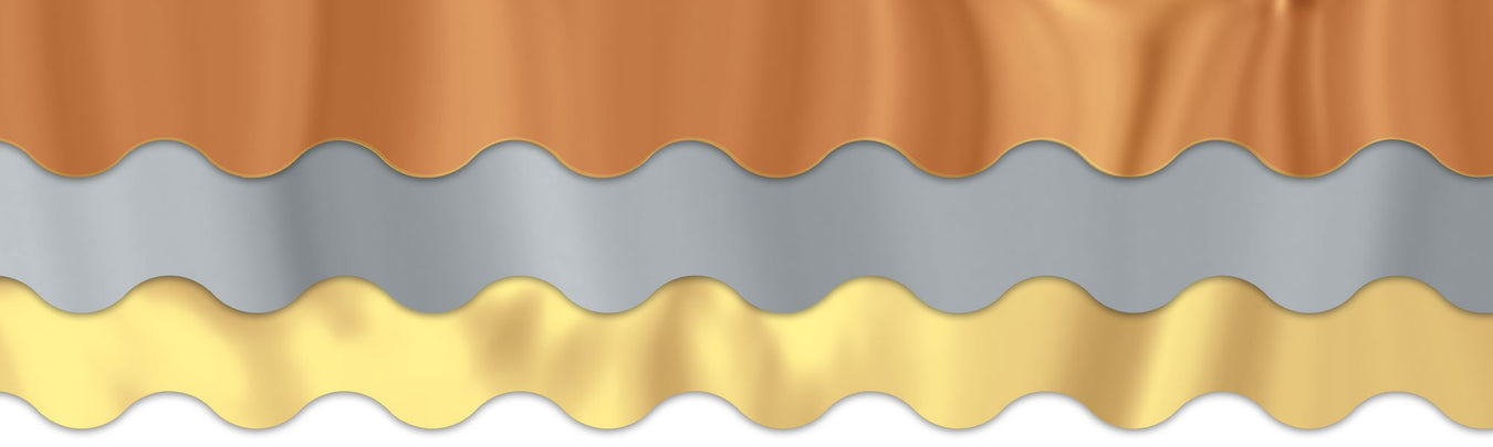 Shiny metallic bulletin board scalloped paper borders
