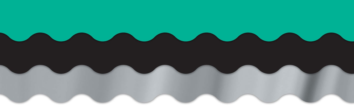 Teal, black and silver classroom theme decorations for bulletin boards