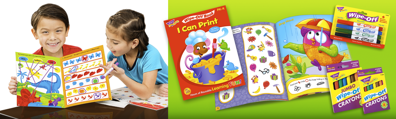 reusable surface wipe away educational books