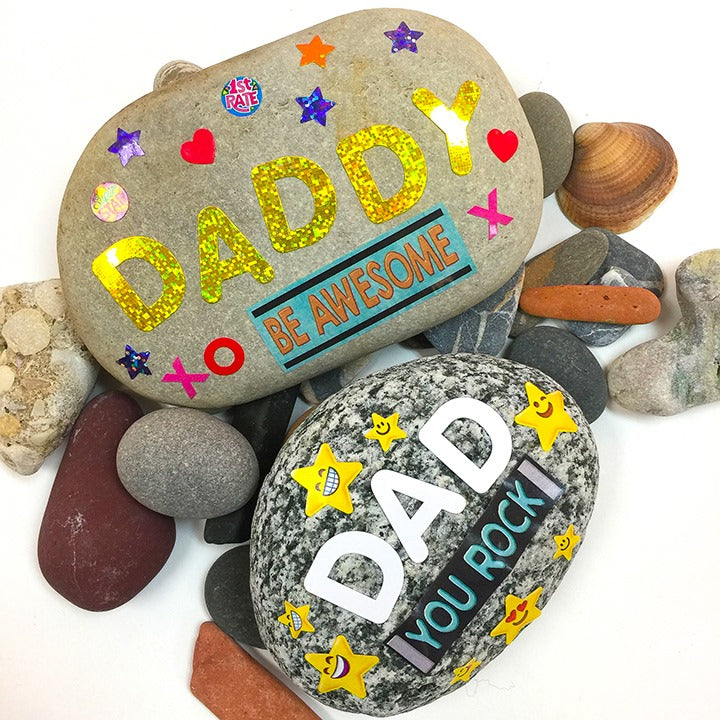 Kid project to make for Father's day using rocks and stickers