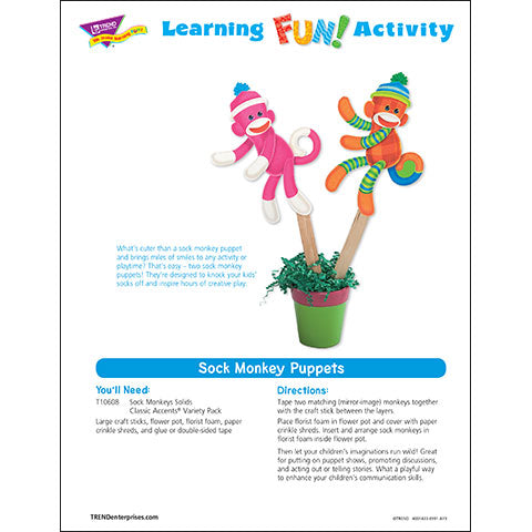 Sock Monkey Puppets Learning Fun Activity
