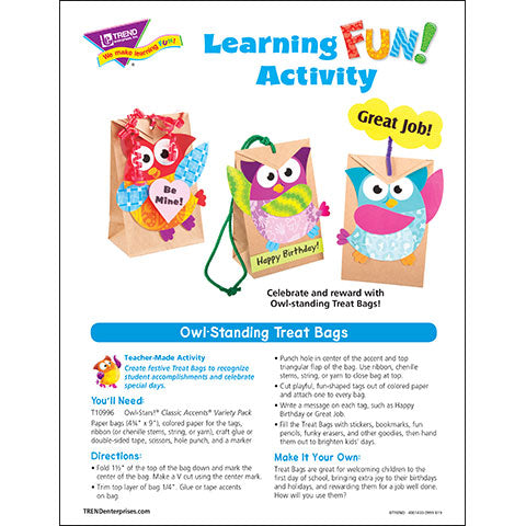 Owl-Standing Treat Bags Learning Fun Activity