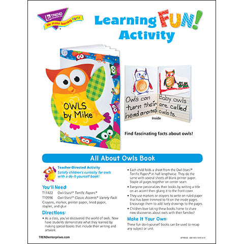 All About Owls Learning Fun Activity