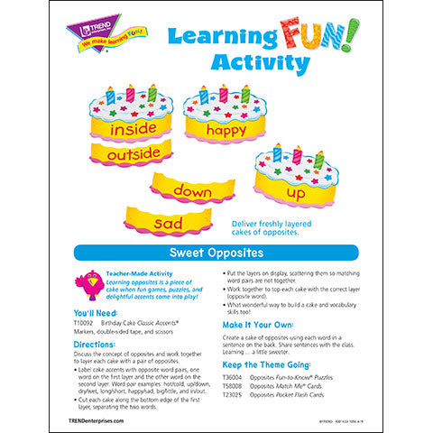 Sweet Opposites Learning FUN Activity