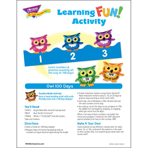 Owl 100 Days  Learning FUN Activity