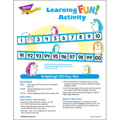 Hedgehogs 100-Day Hop Learning FUN Activity