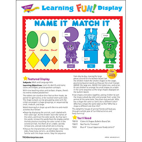 Colors & Shapes Name It Match It Bulletin Board Idea