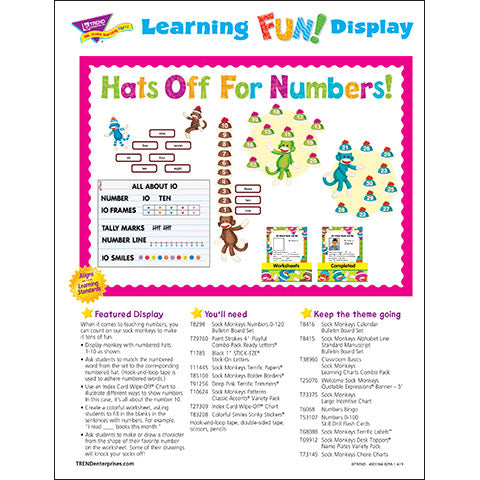 Sock Monkeys Numbers 0-120 Hats Off for Numbers! Bulletin Board Idea