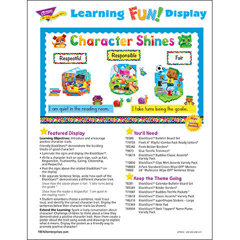 BlockStars!® Character Shines Bulletin Board Idea
