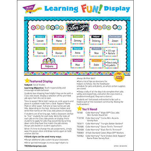 Color Harmony™ Wipe-Off® Class Jobs Bulletin Board Idea
