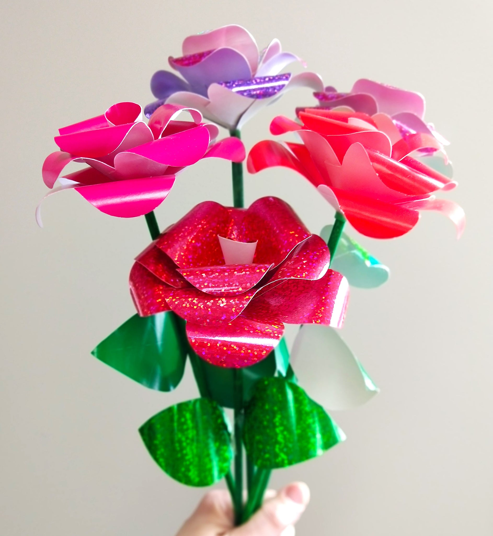 how to make glitter paper roses for Valentines Day