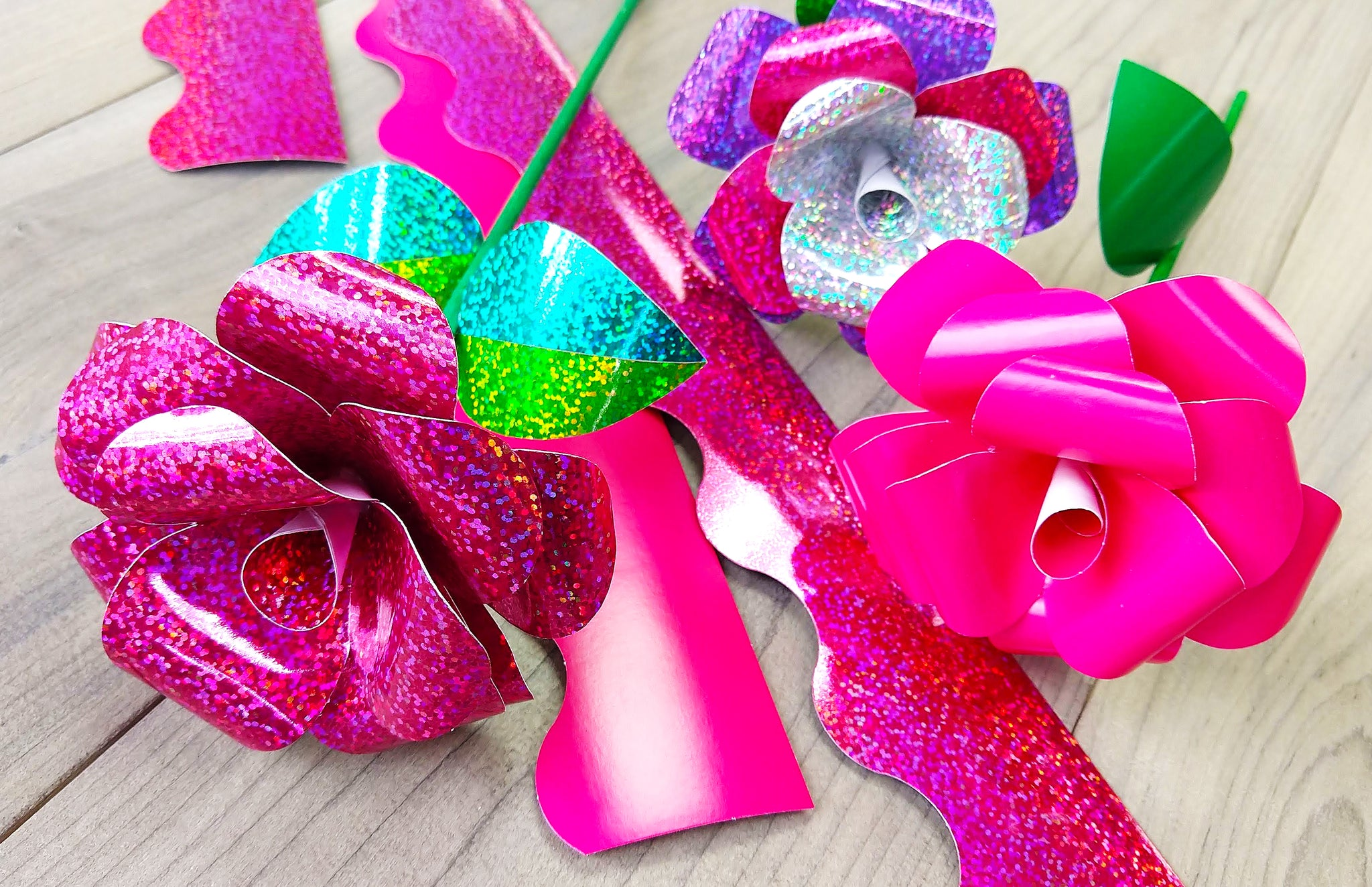 Valentine's Day DIY paper roses made from trimmers