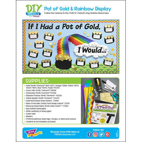 Pot of Gold & Rainbow Bulletin Board DIY