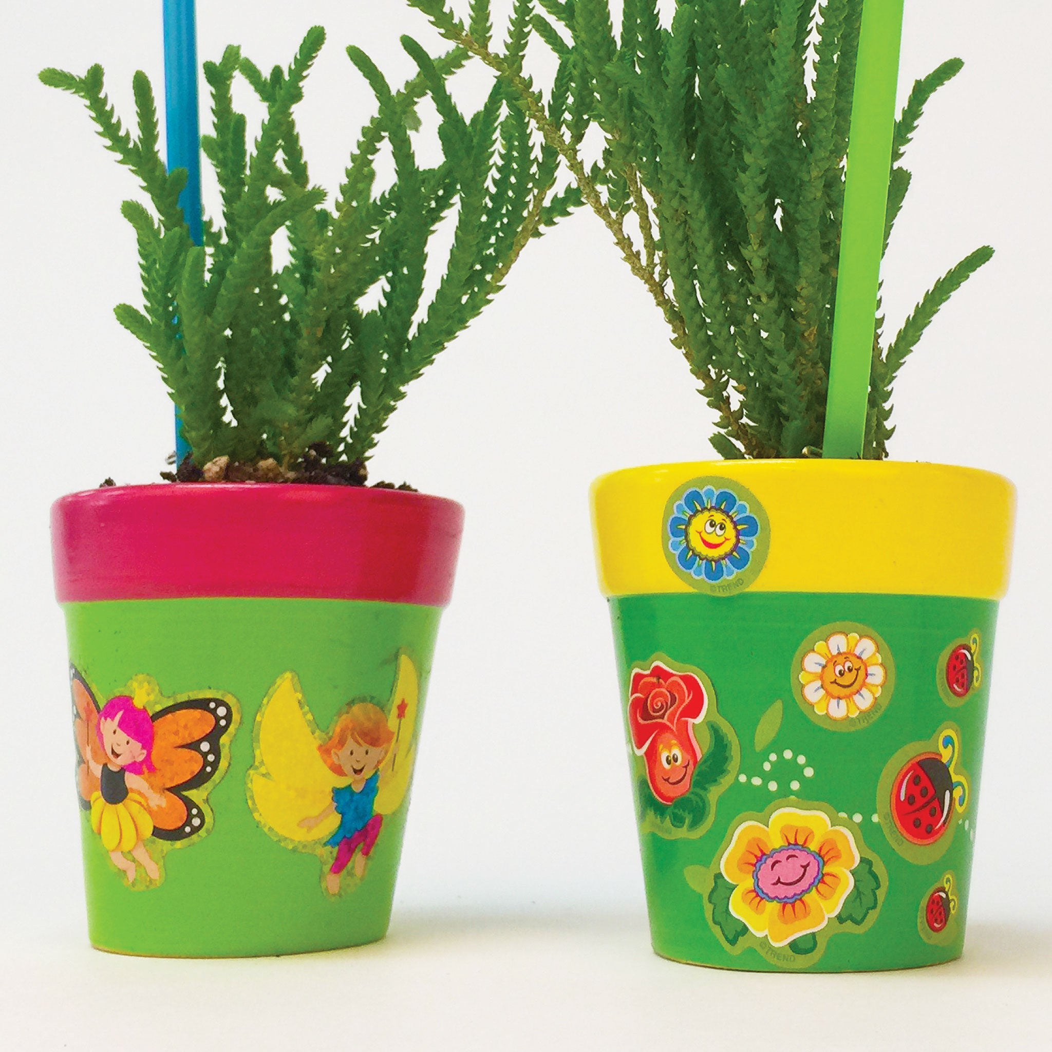decorate flower pots stickers for spring kid project