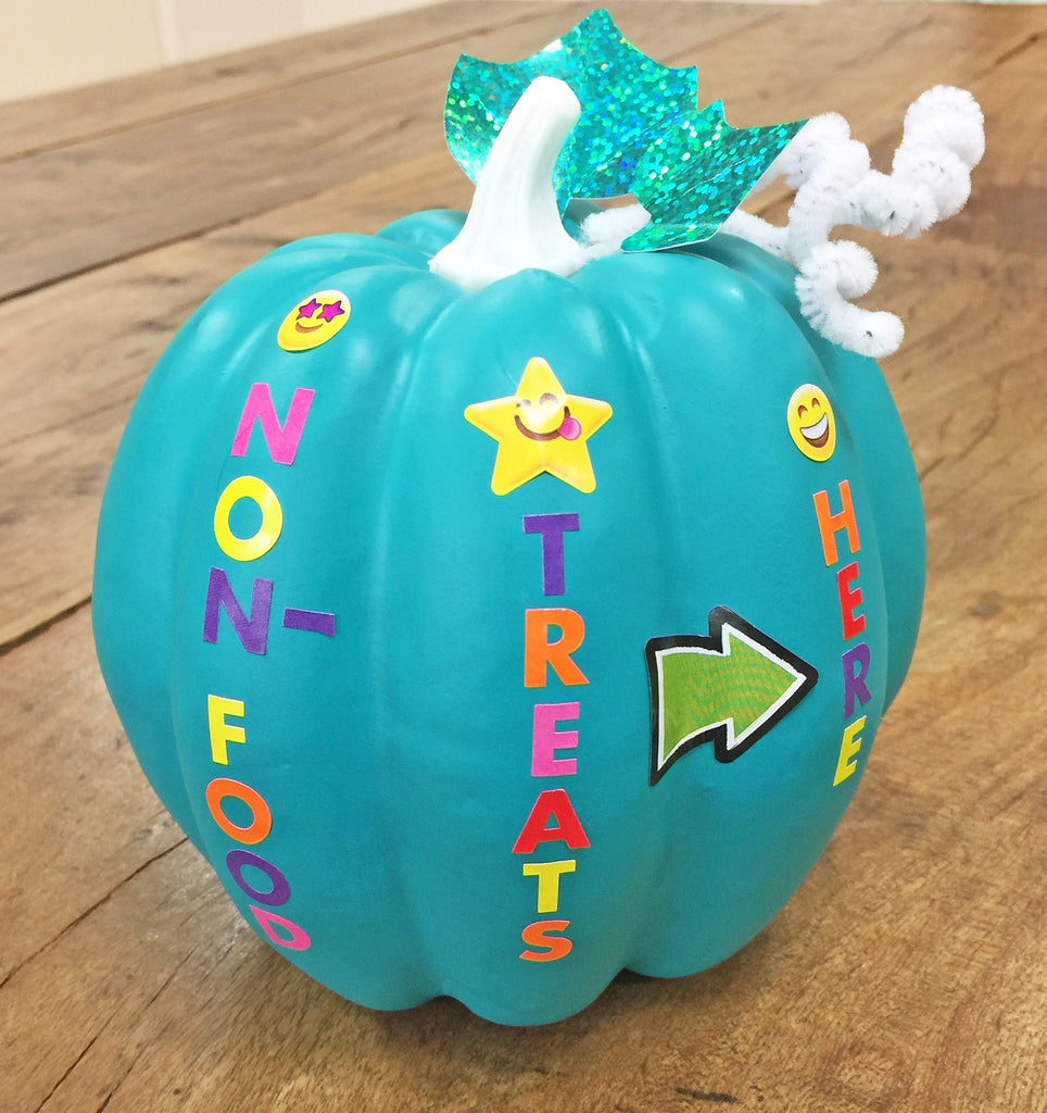 teal pumpkin decorated with stickers project non-food treats food allergy friendly door decor halloween