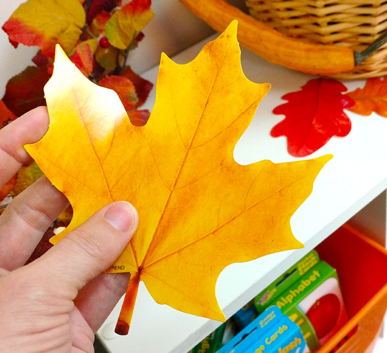 artificial paper fall leaves for halloween, thanksgiving, and fall DIY projects
