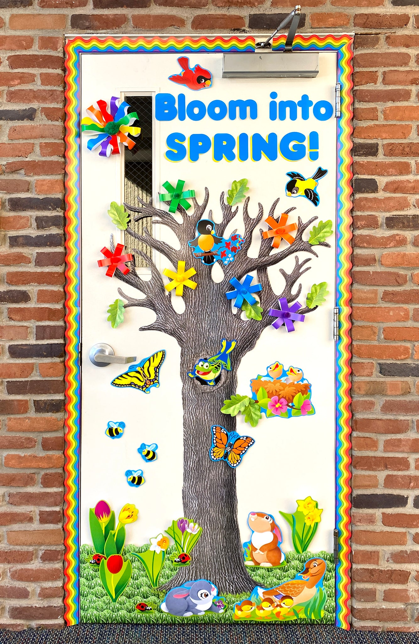 Spring door decoration for school