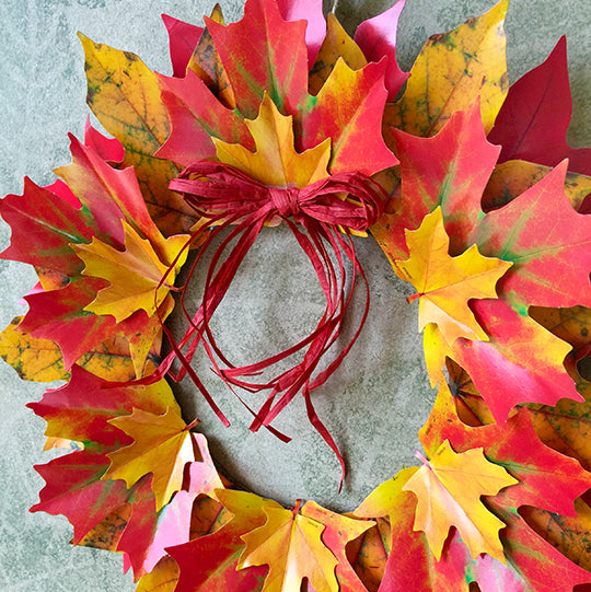 paper leaf fall wreath DIY