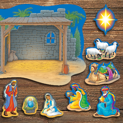 Christmas Nativity paper cut-outs for bulletin board