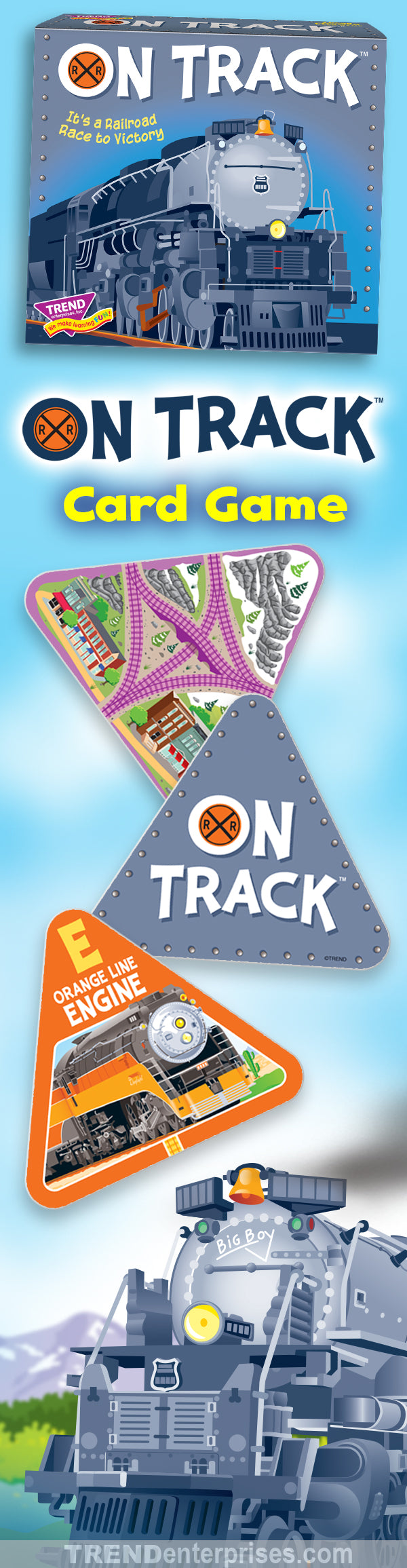 On Track Three Corner Card Game is fun for the whole family! It's a Railroad Race to Victory. Tip your hat to history and ride the rails to victory. It'll take concentration, a competitive spirit, and a bit of luck to triumph in this award-winning card game.  Ages 8 to Adult • 2–4 Players • 30–60 Minutes