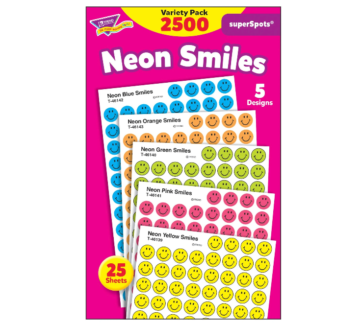Neon smile superspots stickers for teachers planner chart