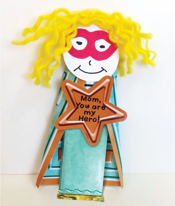 My Hero Candy Craft Mother's Day project kids can make with candy bar super hero