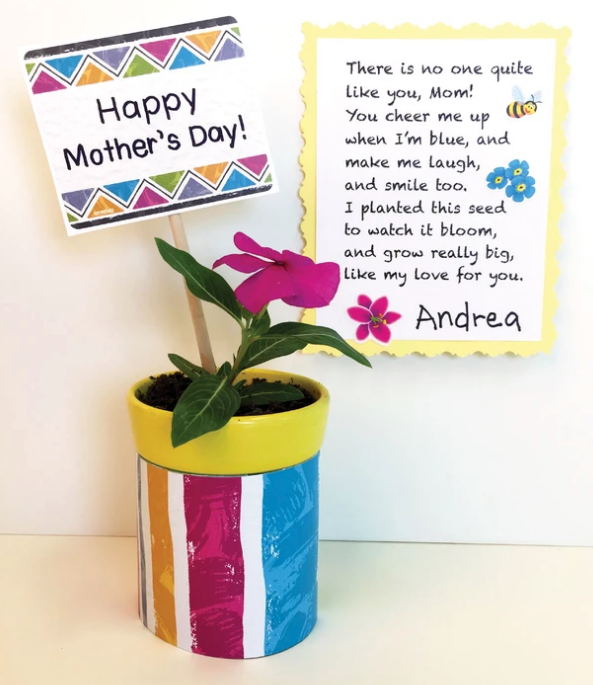 Mother's Day poem and planter DIY gift idea for mom kid project