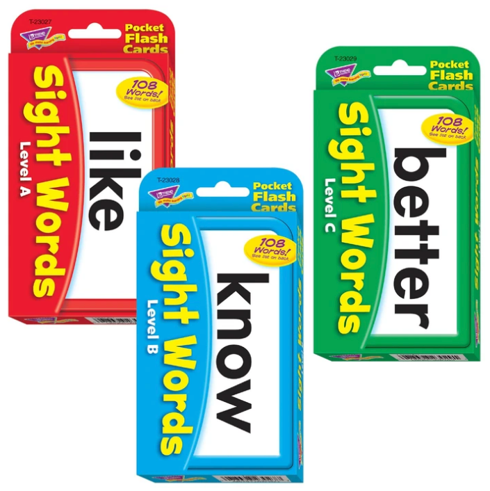 Sight Words Combo Set Pocket Flash Cards made in USA