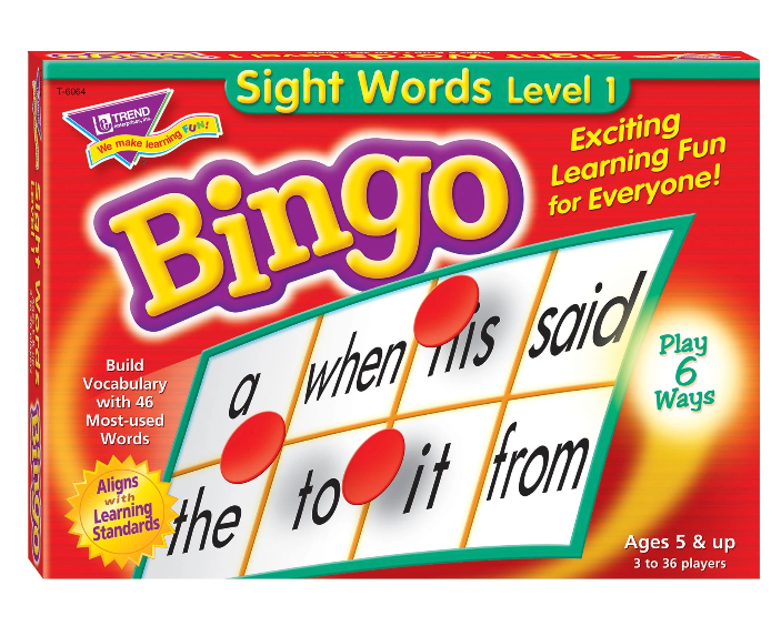 Sight Words Level 1 Bingo Game