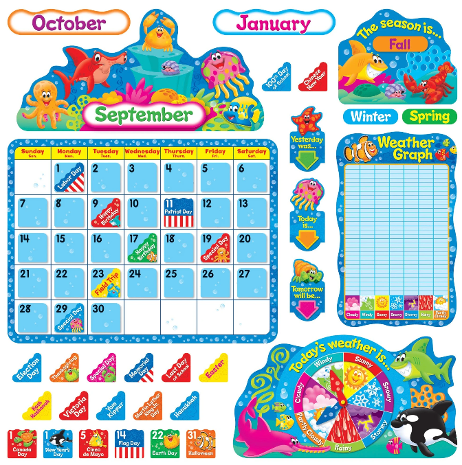 Sea Buddies Calendar Bulletin Board Set