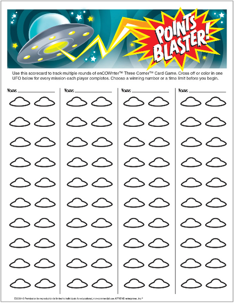 enCOWnter points blaster Free Printable download worksheet