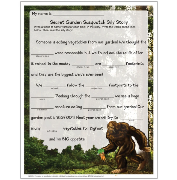 Free worksheet for kids silly story activity about Bigfoot sasquatch