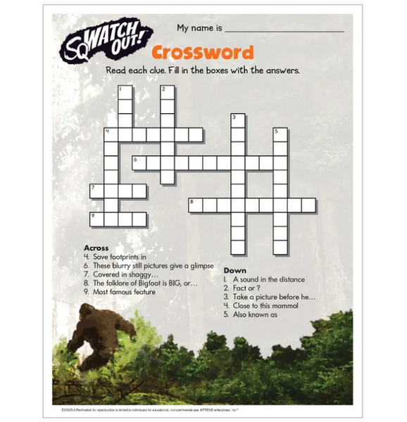 Free Bigfoot crossword printable worksheet activity