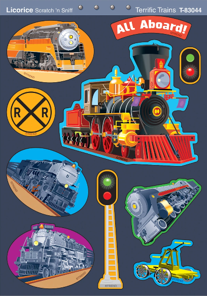 Terrific Trains, Licorice scent Scratch 'n Sniff Stinky Stickers® – Mixed Shapes