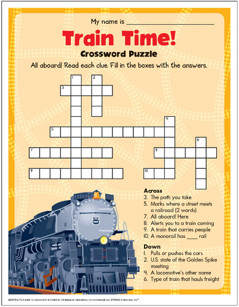 Train Time Crossword Puzzle Free Printable