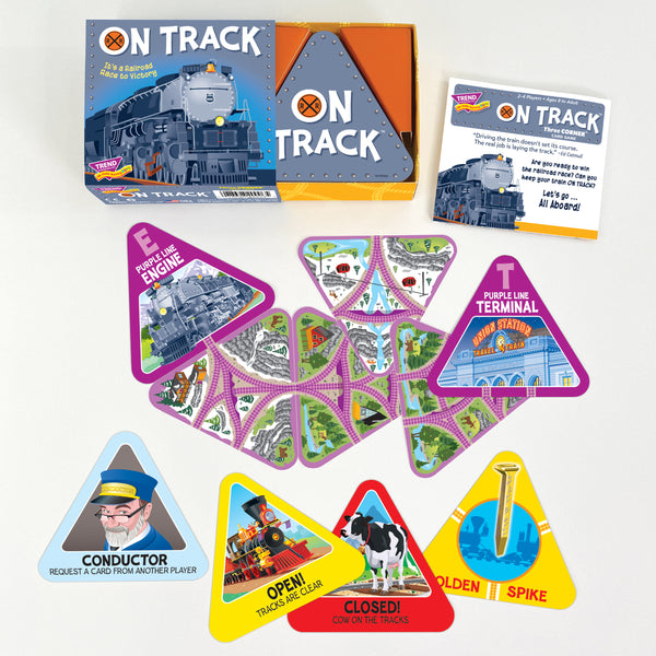 On Track triangle shape train card game by TREND