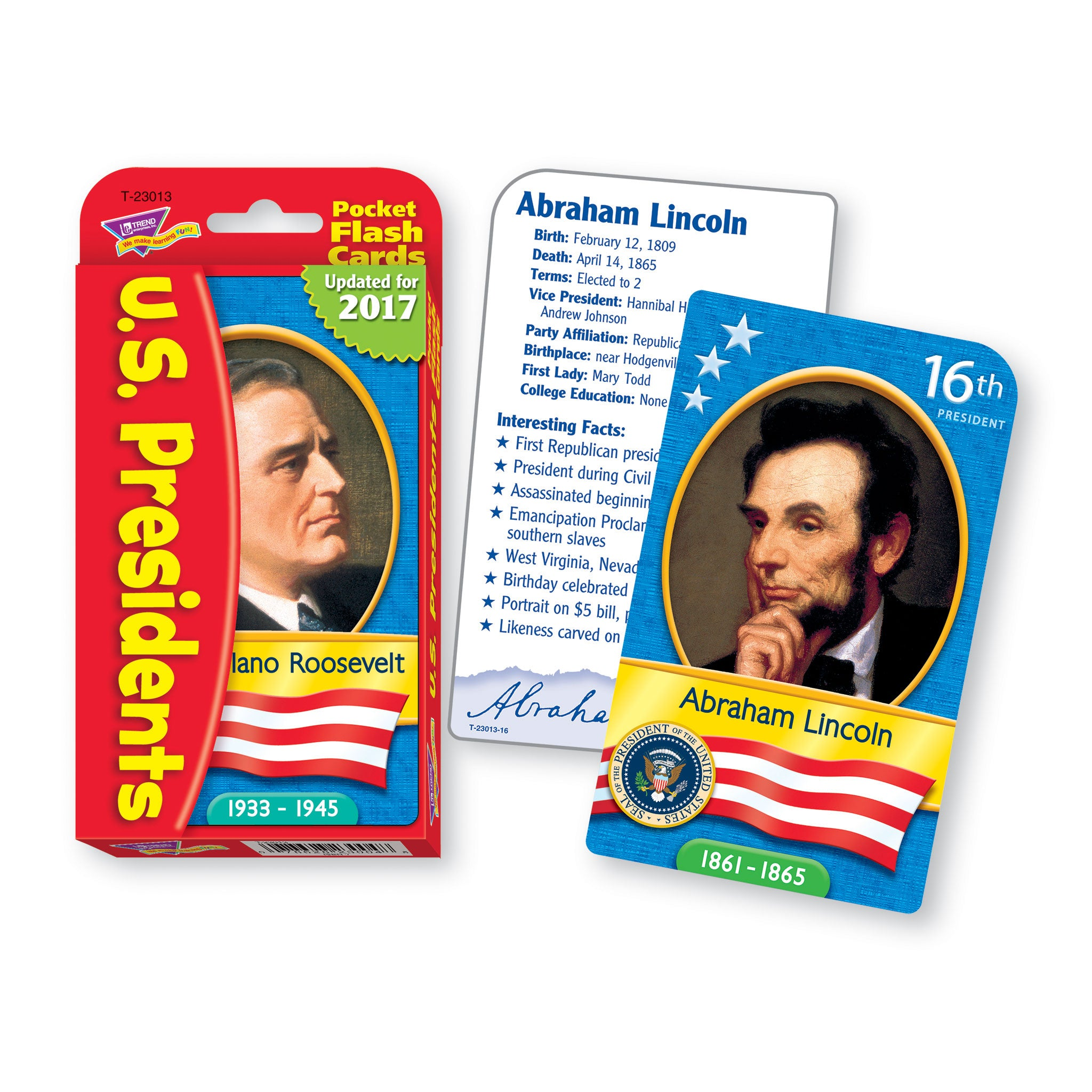 U.S. United States American Presidents Pocket Flash Cards T23013