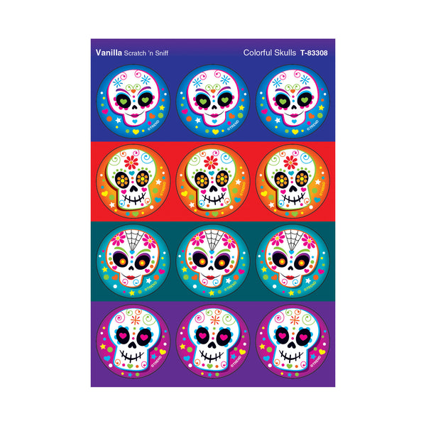 day of the dead sugar skulls scratch 'n sniff stinky stickers