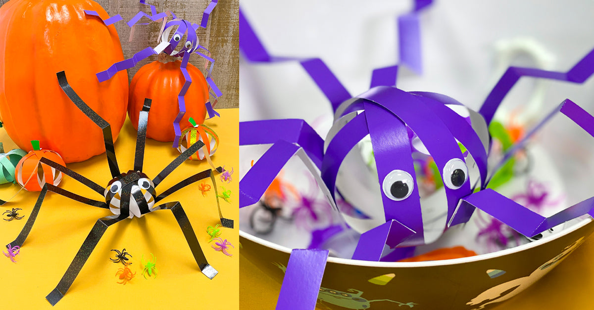 Easy paper crafts for kids Halloween spiders