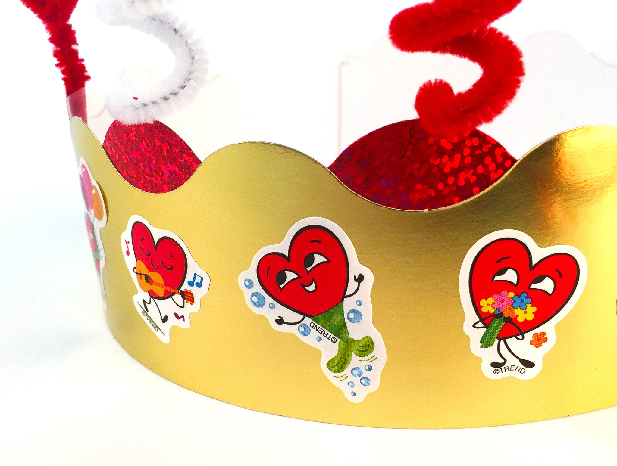 How to make a Valentine's Day paper crown easy kid project scratch 'n sniff stickers