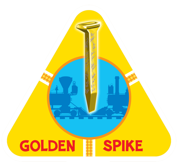 Golden spike card from On Track railroad train card game for families to play