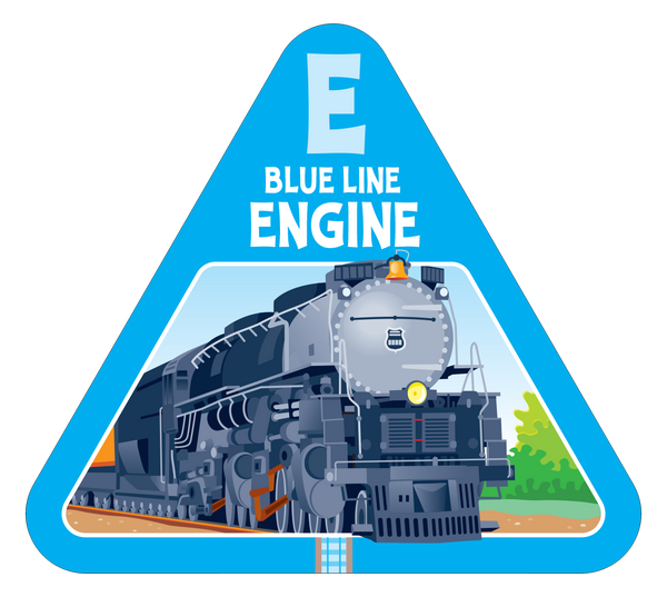 Blue line engine card from On Track fun new board game for families