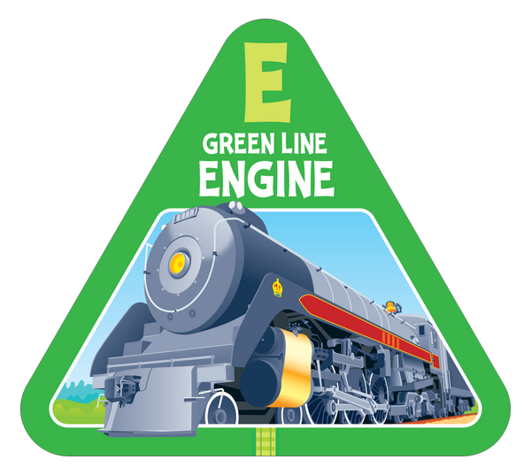 Green line railroad engine card from On Track new card game for families