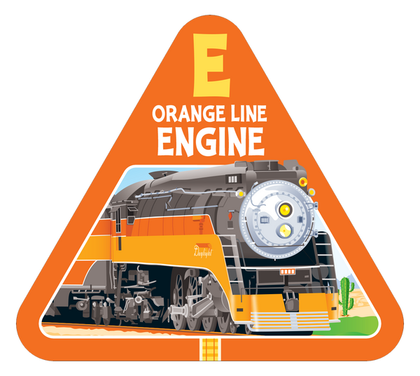 Orange line railroad engine card from On Track best new family card game by TREND