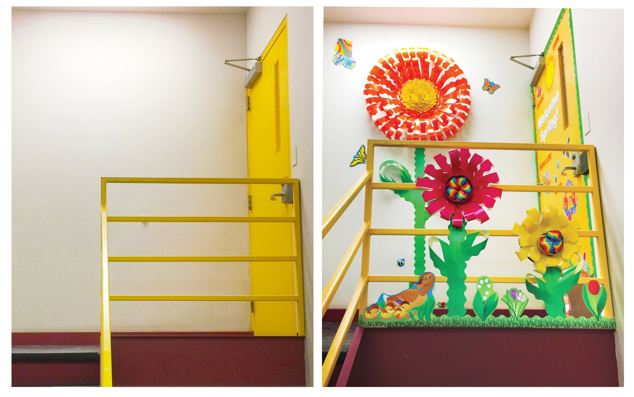 before and after stairwell spring makeover decoration