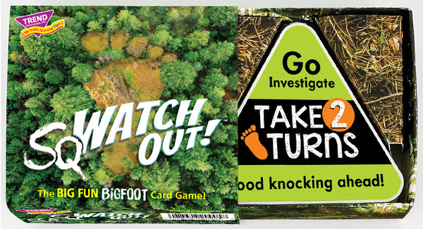 sqWATCH OUT!™ Bigfoot game box. The best new card game for family game night!