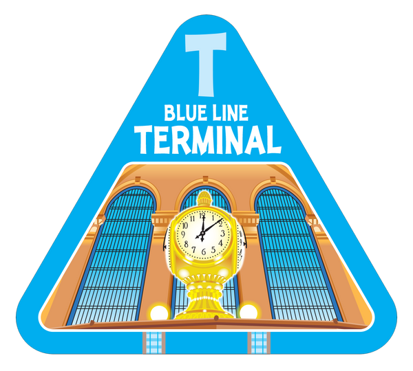 Blue terminal railroad card from On Track train game
