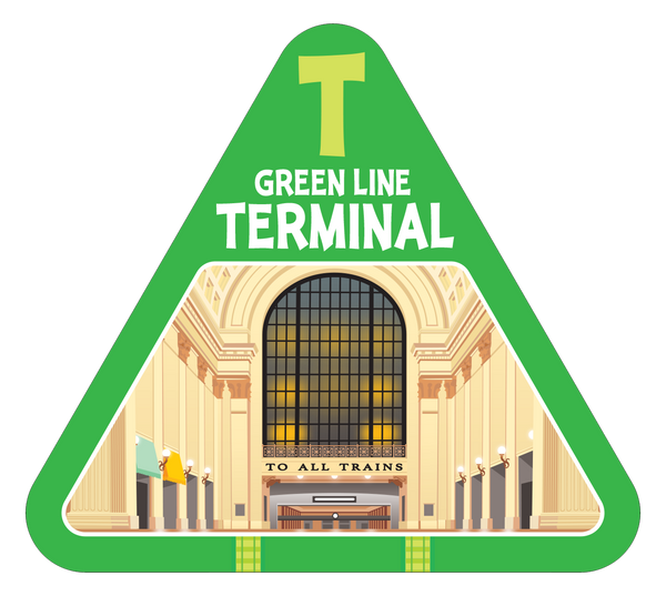 Green line terminal card from On Track railroad train game by TREND