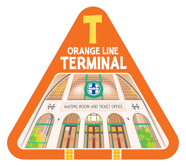 Orange line terminal card from On Track railroad train card game by TREND